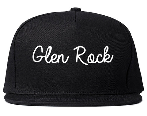Glen Rock New Jersey NJ Script Mens Snapback Hat Black