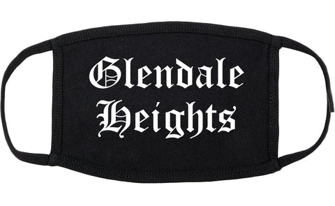 Glendale Heights Illinois IL Old English Cotton Face Mask Black