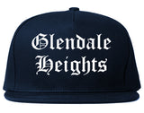 Glendale Heights Illinois IL Old English Mens Snapback Hat Navy Blue