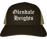 Glendale Heights Illinois IL Old English Mens Trucker Hat Cap Brown