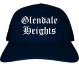 Glendale Heights Illinois IL Old English Mens Trucker Hat Cap Navy Blue
