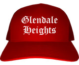 Glendale Heights Illinois IL Old English Mens Trucker Hat Cap Red
