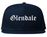 Glendale Wisconsin WI Old English Mens Snapback Hat Navy Blue