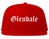 Glendale Wisconsin WI Old English Mens Snapback Hat Red