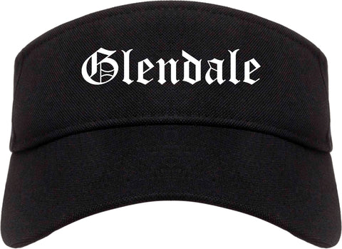 Glendale Wisconsin WI Old English Mens Visor Cap Hat Black
