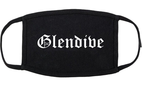 Glendive Montana MT Old English Cotton Face Mask Black