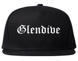 Glendive Montana MT Old English Mens Snapback Hat Black