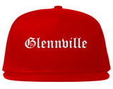 Glennville Georgia GA Old English Mens Snapback Hat Red