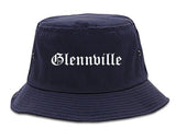 Glennville Georgia GA Old English Mens Bucket Hat Navy Blue