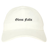 Glens Falls New York NY Old English Mens Dad Hat Baseball Cap White
