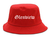 Glenview Illinois IL Old English Mens Bucket Hat Red