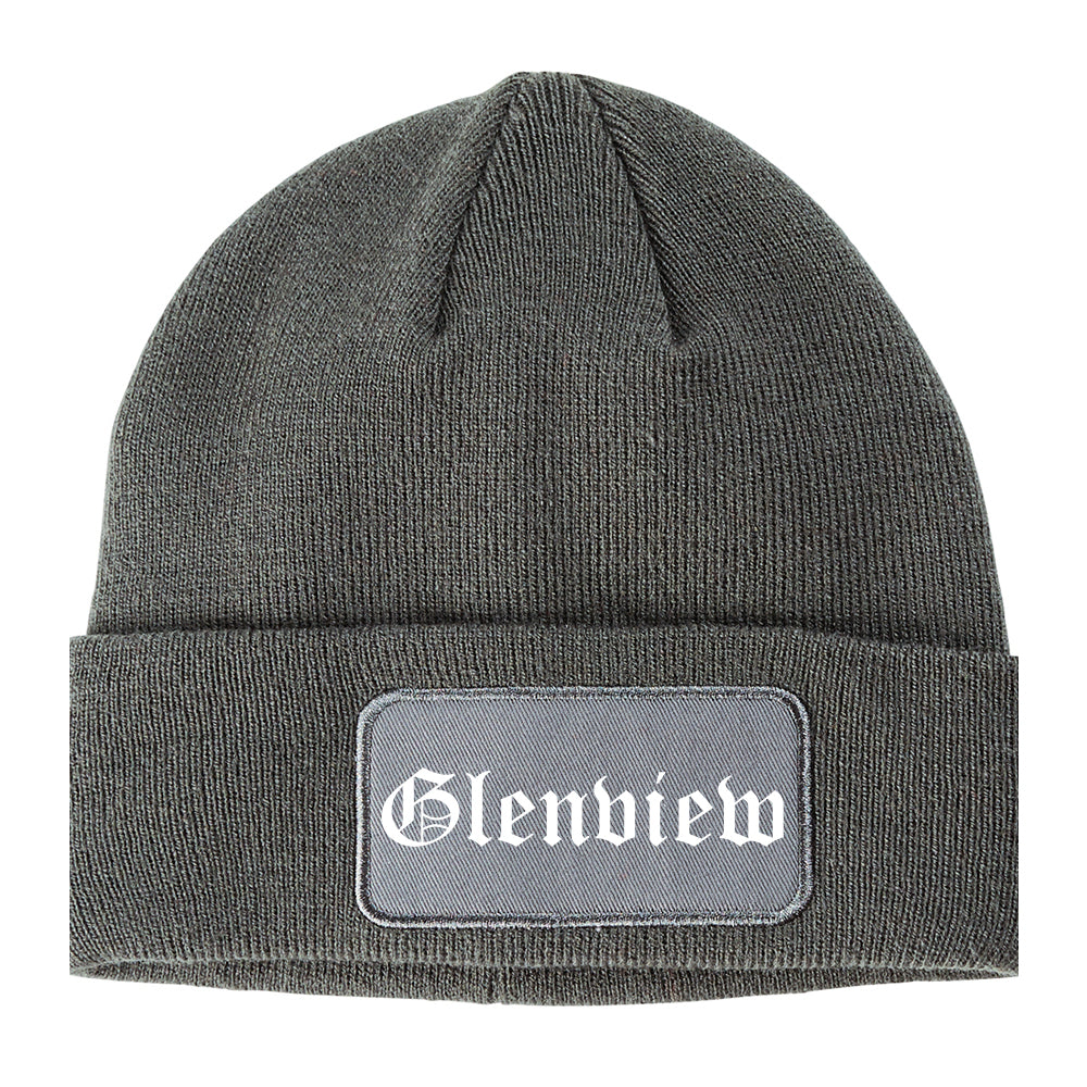 Glenview Illinois IL Old English Mens Knit Beanie Hat Cap Grey