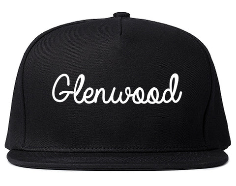 Glenwood Illinois IL Script Mens Snapback Hat Black