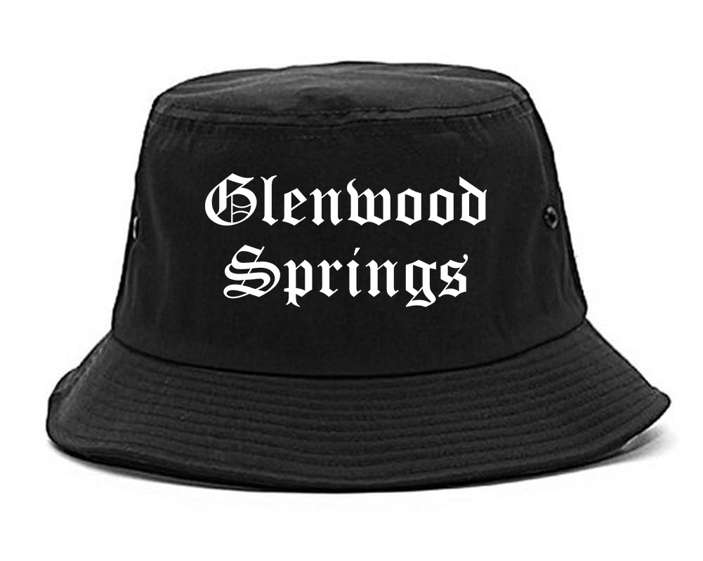 Glenwood Springs Colorado CO Old English Mens Bucket Hat Black