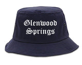 Glenwood Springs Colorado CO Old English Mens Bucket Hat Navy Blue