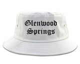 Glenwood Springs Colorado CO Old English Mens Bucket Hat White