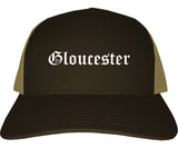 Gloucester Massachusetts MA Old English Mens Trucker Hat Cap Brown