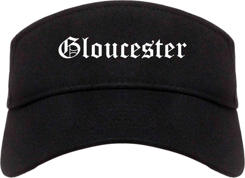 Gloucester Massachusetts MA Old English Mens Visor Cap Hat Black