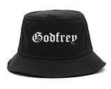 Godfrey Illinois IL Old English Mens Bucket Hat Black