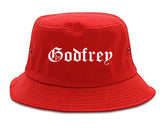 Godfrey Illinois IL Old English Mens Bucket Hat Red