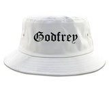 Godfrey Illinois IL Old English Mens Bucket Hat White