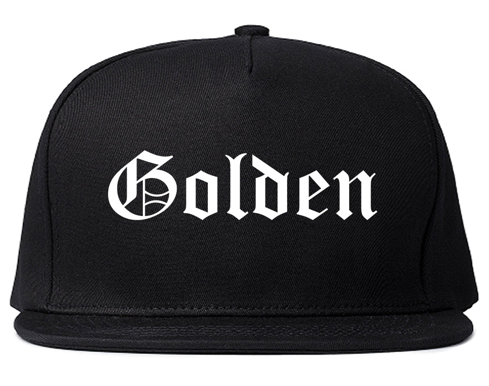 Golden Colorado CO Old English Mens Snapback Hat Black