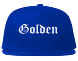 Golden Colorado CO Old English Mens Snapback Hat Royal Blue