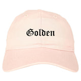 Golden Colorado CO Old English Mens Dad Hat Baseball Cap Pink