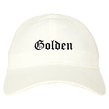 Golden Colorado CO Old English Mens Dad Hat Baseball Cap White