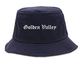 Golden Valley Minnesota MN Old English Mens Bucket Hat Navy Blue