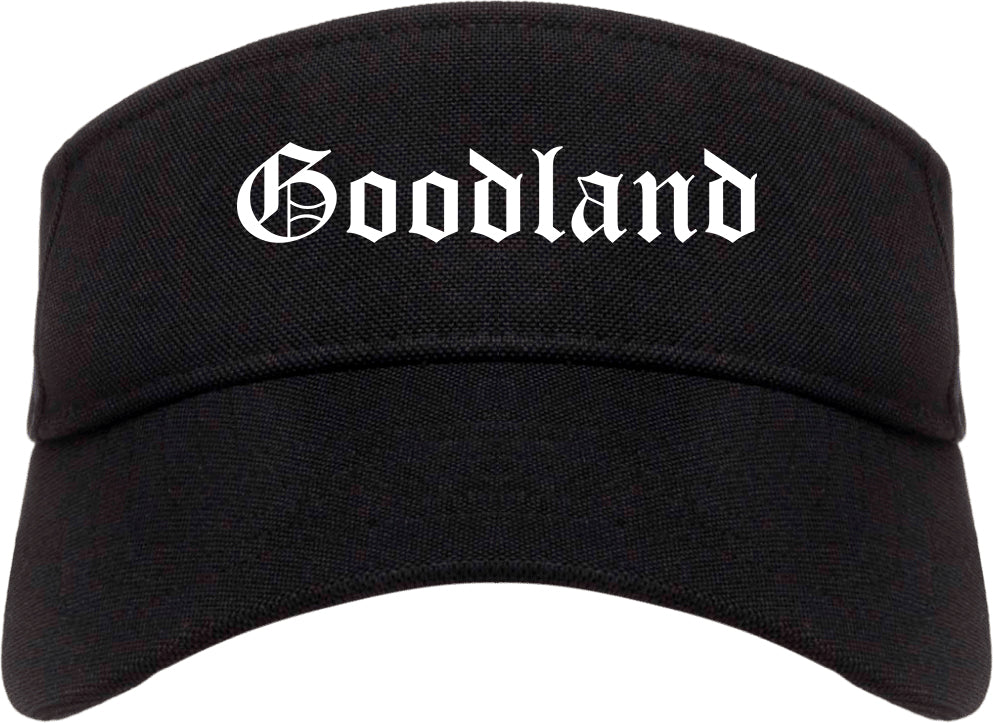 Goodland Kansas KS Old English Mens Visor Cap Hat Black