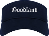 Goodland Kansas KS Old English Mens Visor Cap Hat Navy Blue