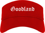 Goodland Kansas KS Old English Mens Visor Cap Hat Red