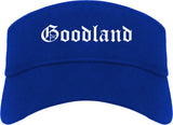 Goodland Kansas KS Old English Mens Visor Cap Hat Royal Blue