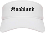 Goodland Kansas KS Old English Mens Visor Cap Hat White