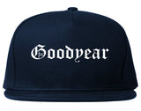 Goodyear Arizona AZ Old English Mens Snapback Hat Navy Blue