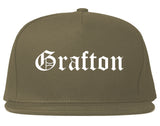 Grafton Ohio OH Old English Mens Snapback Hat Grey