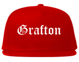 Grafton Ohio OH Old English Mens Snapback Hat Red