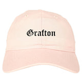 Grafton Ohio OH Old English Mens Dad Hat Baseball Cap Pink