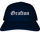 Grafton Ohio OH Old English Mens Trucker Hat Cap Navy Blue