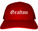 Grafton Ohio OH Old English Mens Trucker Hat Cap Red
