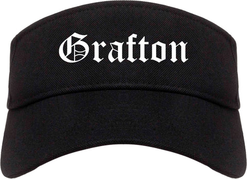 Grafton Ohio OH Old English Mens Visor Cap Hat Black