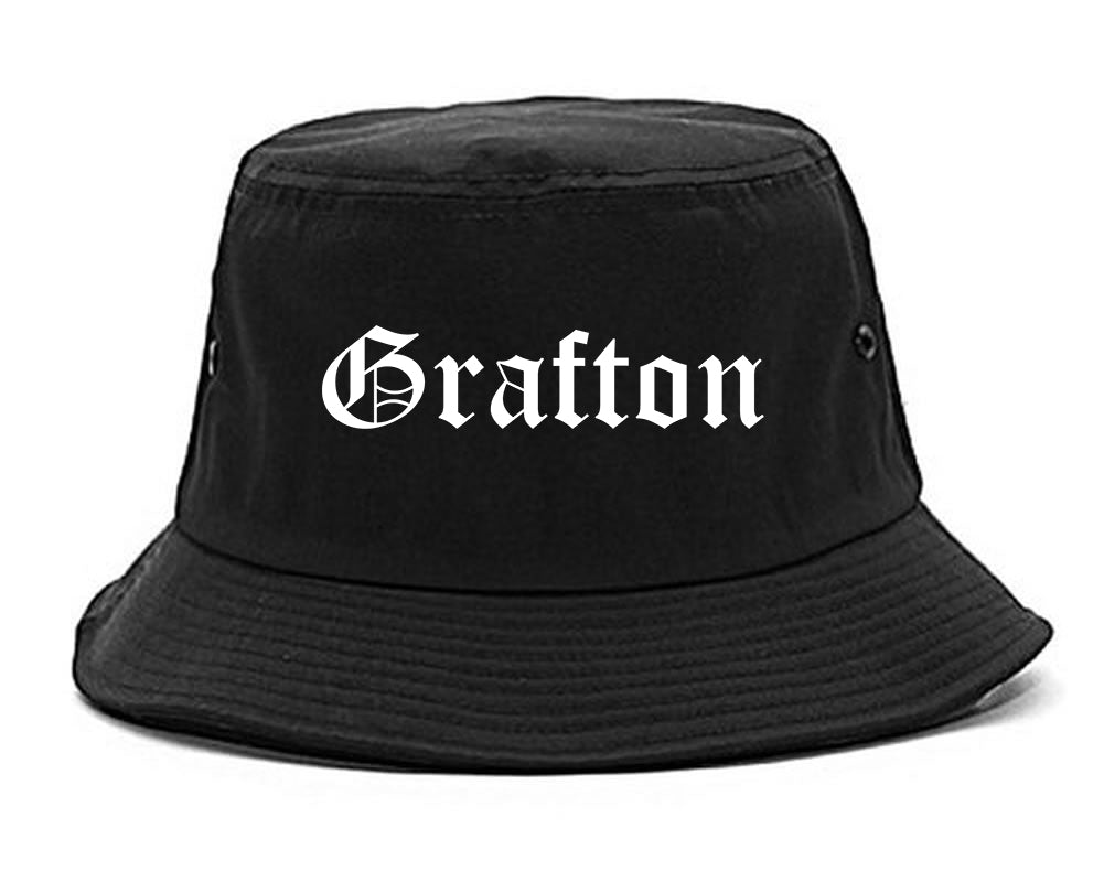 Grafton Wisconsin WI Old English Mens Bucket Hat Black