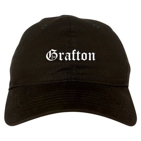 Grafton Wisconsin WI Old English Mens Dad Hat Baseball Cap Black