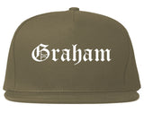 Graham North Carolina NC Old English Mens Snapback Hat Grey