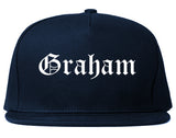 Graham North Carolina NC Old English Mens Snapback Hat Navy Blue