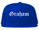 Graham North Carolina NC Old English Mens Snapback Hat Royal Blue