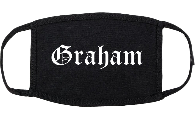 Graham Texas TX Old English Cotton Face Mask Black