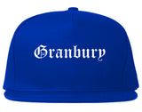 Granbury Texas TX Old English Mens Snapback Hat Royal Blue