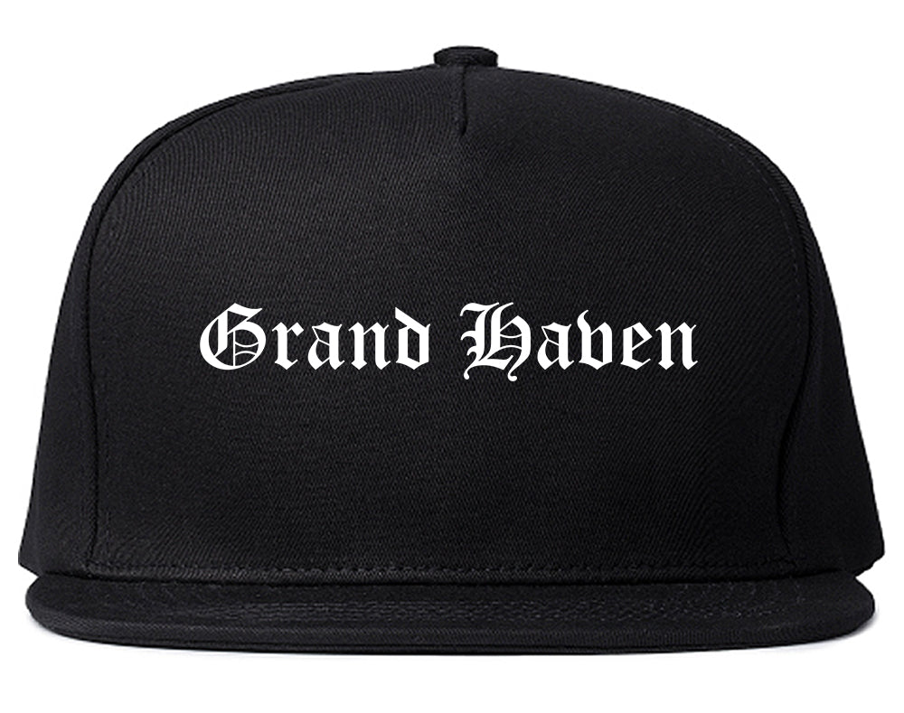 Grand Haven Michigan MI Old English Mens Snapback Hat Black